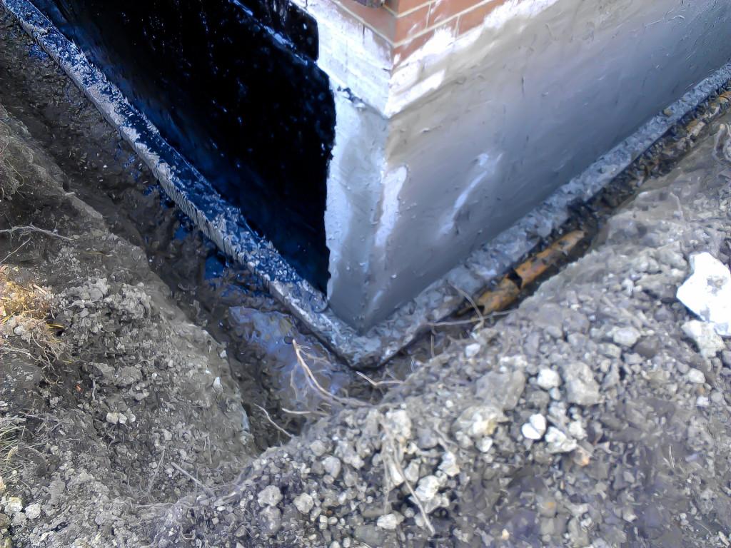 waterproofing work in progress